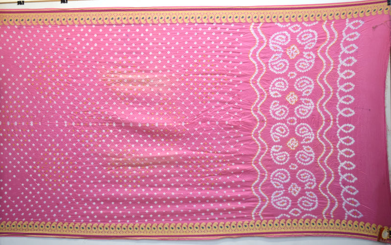 All Over Pink Color Hand Work Gadhwal Bandhani Saree