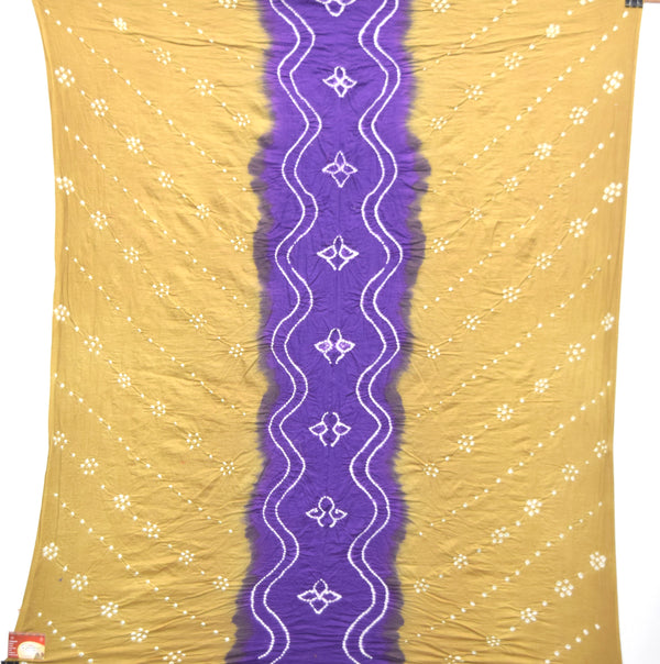Chiku And Purple Color Cotton Bandhani Kurti