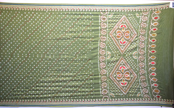 All Over Mahendi Color Hand Work Gadhwal Bandhani Saree