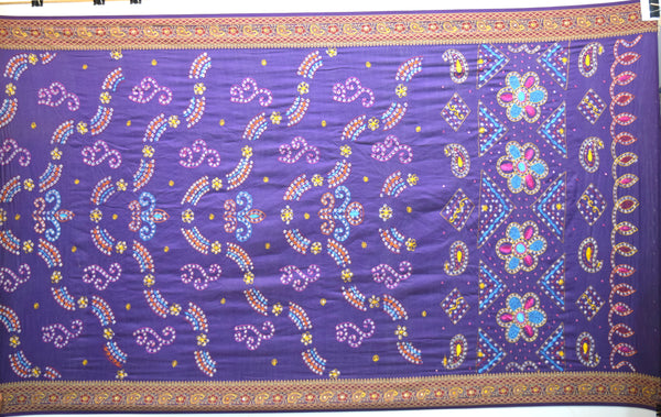 All Over Blue Color Hand Work Design Gadhwal Bandhani Saree