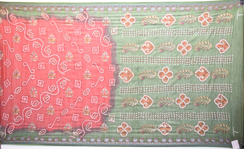 Red And Green Color Hand Work Design Gadhwal Bandhani Saree