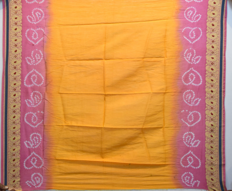 Pink And Yellow Gadhwal Bandhani Saree