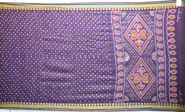 All Over Lavender Color Hand Work Fancy Design Gadhwal Bandhani Saree