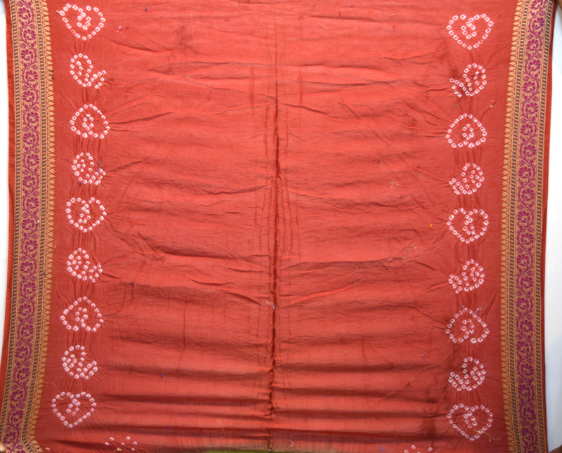 Red And Green Color Fancy Design Gadhwal  Bandhani Saree