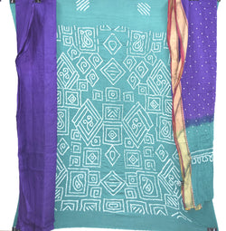 Sea Green And Blue Color Fancy Design Cotton Satin Bandhani Dress Material - KalaSanskruti Retail Private Limited