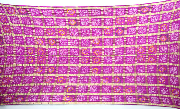All Over Pink Color Checks Design Gaji Silk Bandhani Saree