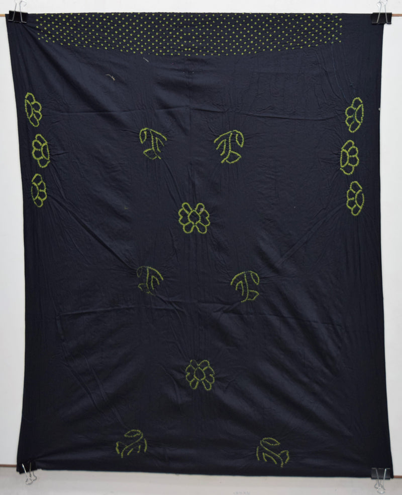 Black And Parrot Green Color Cotton Bandhani Kurti