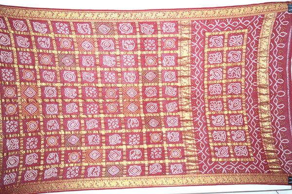 All Over Maroon Color Fancy Design Cotton Bandhani Gharchora Saree - KalaSanskruti Retail Private Limited