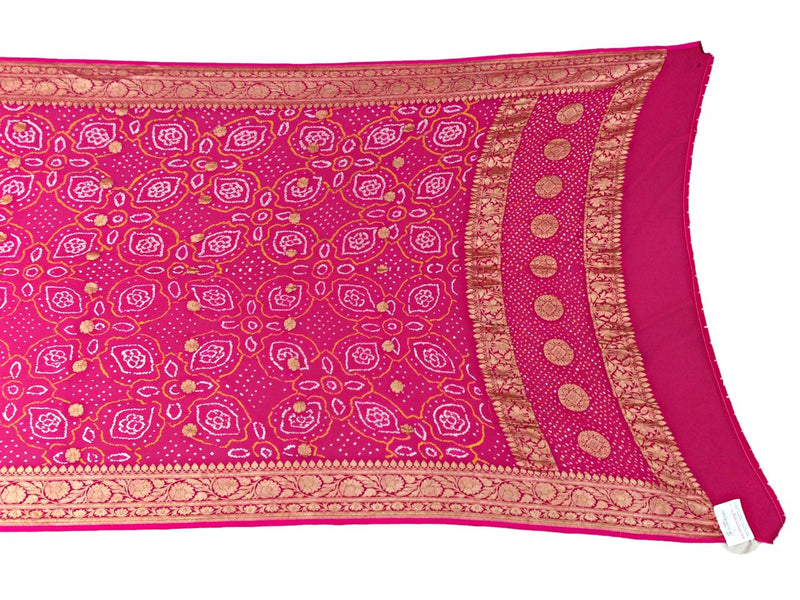 All Over Pink Color Fancy Design Banarasi Georgette Bandhani Dupatta - KalaSanskruti Retail Private Limited
