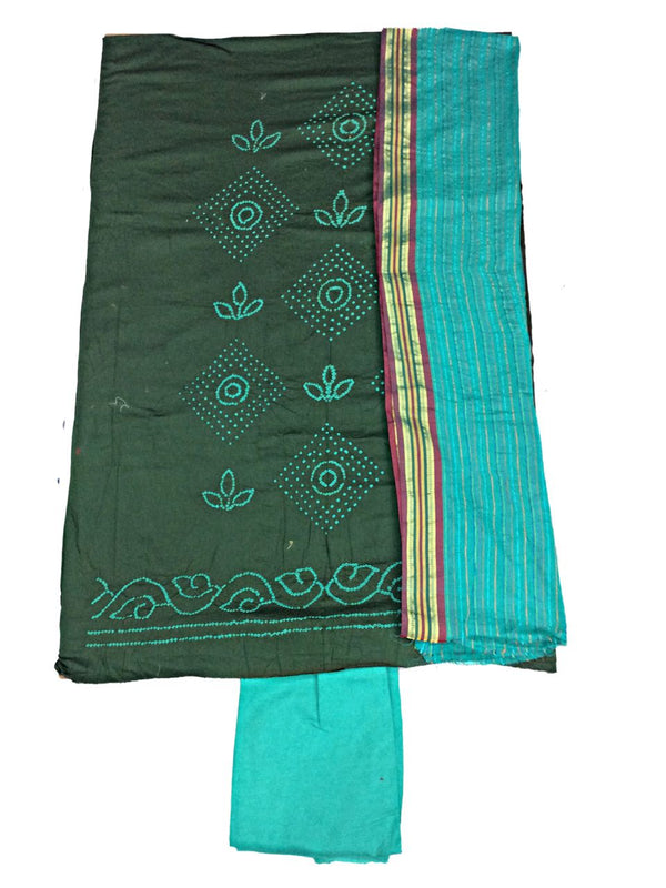 Mahendi And Sea Green Color Fancy Design Cotton Satin Bandhani Dress Material