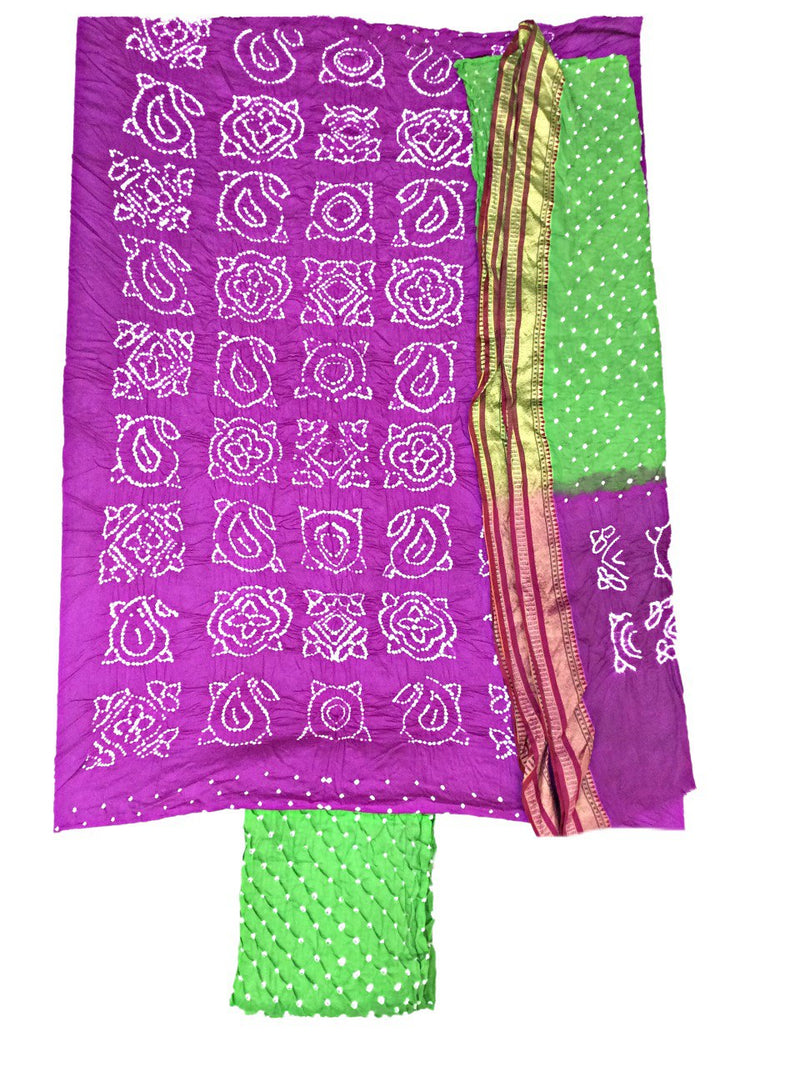 Purple And Green Color Fancy Design Cotton Satin Bandhani Dress Material - KalaSanskruti Retail Private Limited