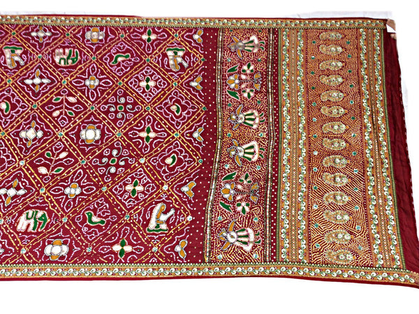 All Over Red Kasab And Thread Work Design Gaji Silk Bandhani Saree