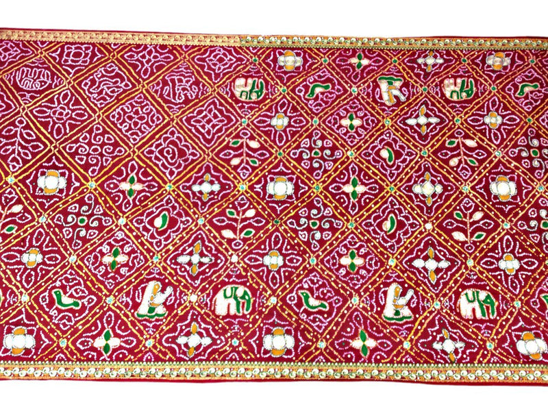 All Over Red Kasab And Thread Work Design Gaji Silk Bandhani Saree - KalaSanskruti Retail Private Limited