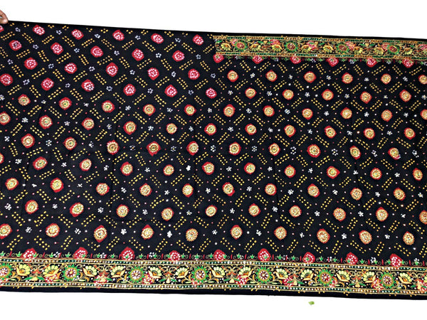 Black And Red Aabhla And Thread Work Design Gaji Silk Bandhani Saree