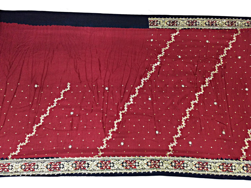 Red And Black Aabhla And Thread Work Design Gaji Silk Bandhani Saree