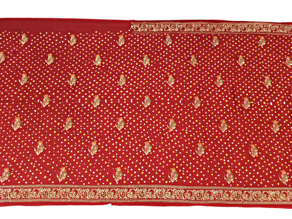 All Over Red Aabhla And Thread Work Design Gaji Silk Bandhani Saree