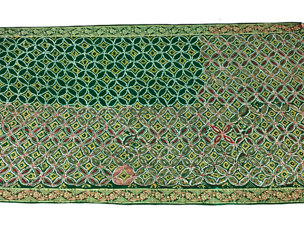 All Over Green Aabhla And Thread Work Design Gaji Silk Bandhani Saree