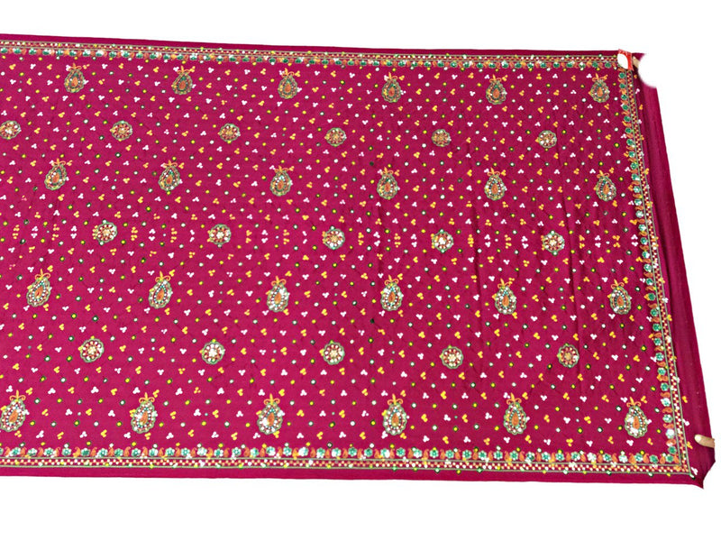 All Over Pink Aabhla And Thread Work Design Gaji Silk Bandhani Saree - KalaSanskruti Retail Private Limited