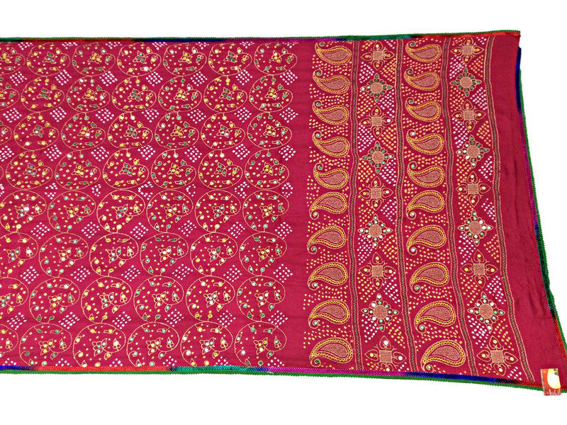 All Over Pink Aabhla And Thread Work Design Gaji Silk Bandhani Saree