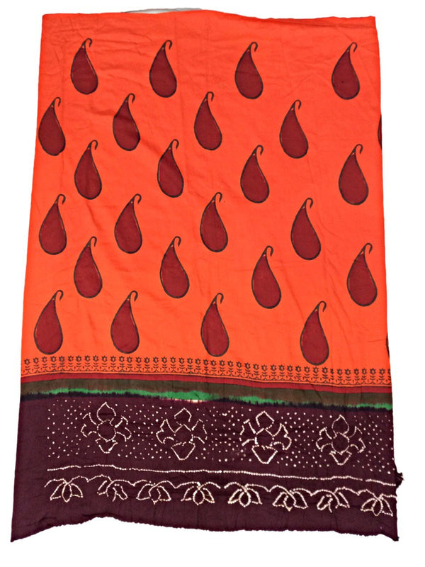 All Over Orange Fancy Design Cotton Bandhani Kurti