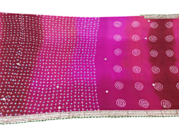 Red And Pink Shaded Color Fancy Design Pure Crepe Bandhani Saree