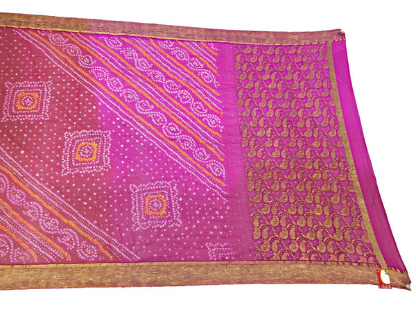 Pink And Red Shaded Color Fancy Design Pure Crepe Bandhani Saree - KalaSanskruti Retail Private Limited
