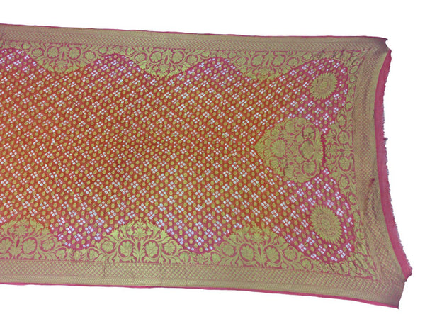 Pink And Orange Shaded Color Janglow Design Art Silk Bandhani Dupatta - KalaSanskruti Retail Private Limited