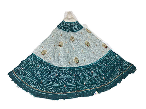 White And Sea Green Color Fancy Design Work Pure Silk Bandhani Chaniya Choli Material