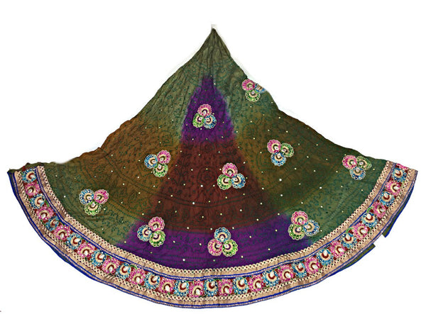 Mahendi And Magenta Color Fancy Design Work Pure Silk Bandhani Chaniya Choli Material