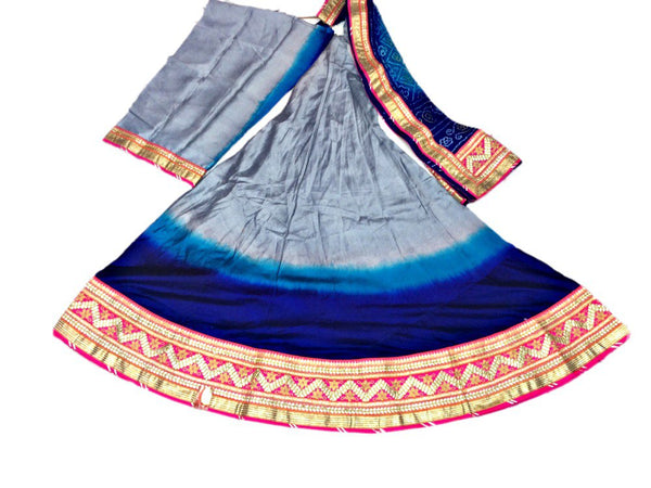 Grey And Blue Color Fancy Design Work Pure Silk Bandhani Chaniya Choli Material - KalaSanskruti Retail Private Limited
