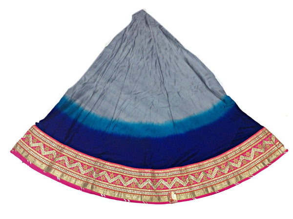 Grey And Blue Color Fancy Design Work Pure Silk Bandhani Chaniya Choli Material