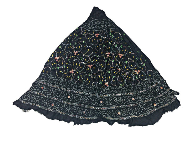 All Over Black Color Fancy Design Work Pure Silk Bandhani Chaniya Choli Material