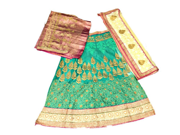 All Over Pista Color Fancy Design Work Pure Silk Bandhani Chaniya Choli Material
