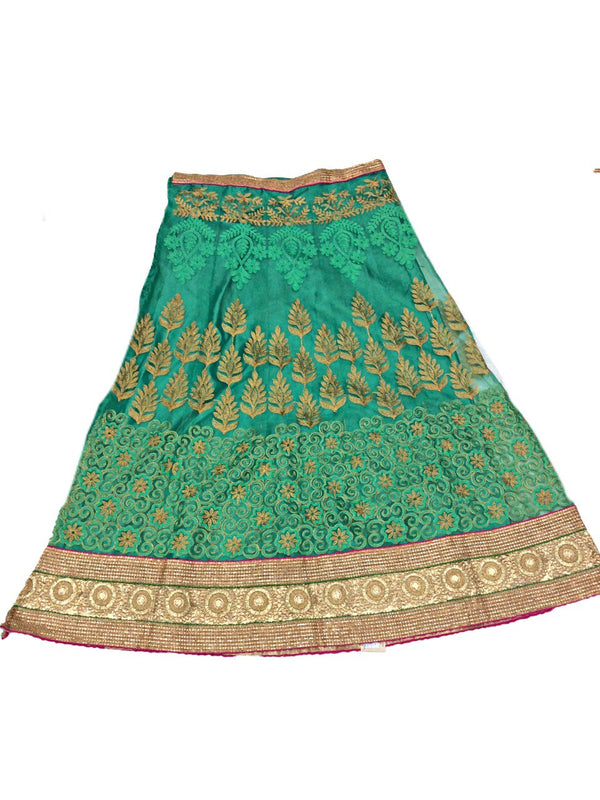 All Over Pista Color Fancy Design Work Pure Silk Bandhani Chaniya Choli Material - KalaSanskruti Retail Private Limited
