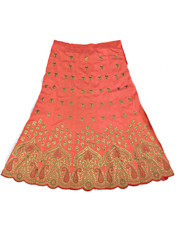 All Over Peach Color Fancy Design Gotta Patti Work Pure Silk Bandhani Chaniya Choli Material