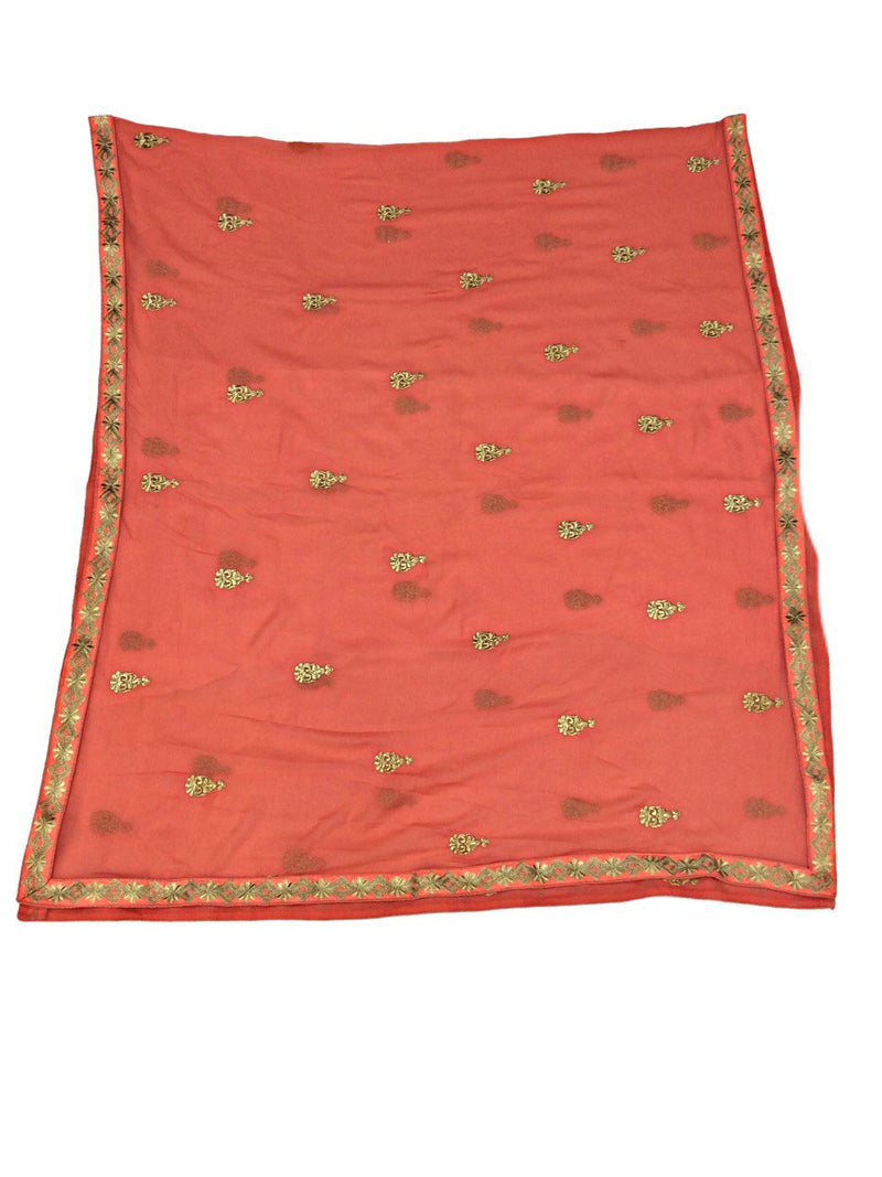 All Over Peach Color Fancy Design Gotta Patti Work Pure Silk Bandhani Chaniya Choli Material - KalaSanskruti Retail Private Limited