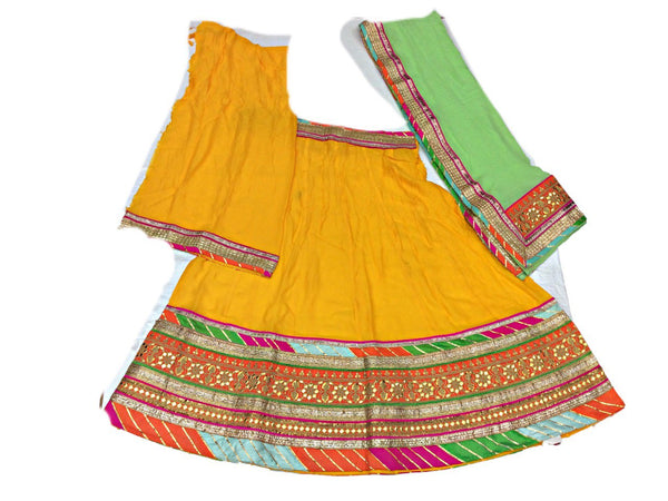 Yellow And Pista Color Fancy Design Gotta Patti Work Pure Silk Bandhani Chaniya Choli Material