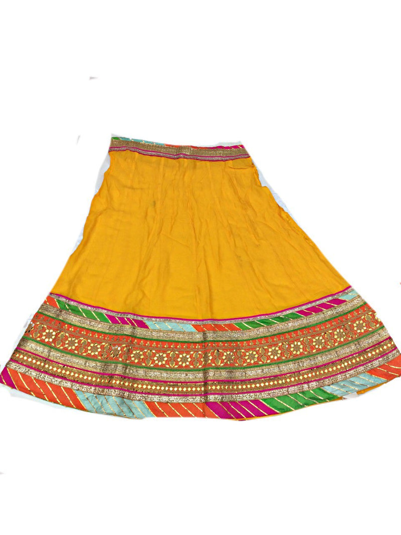 Yellow And Pista Color Fancy Design Gotta Patti Work Pure Silk Bandhani Chaniya Choli Material - KalaSanskruti Retail Private Limited