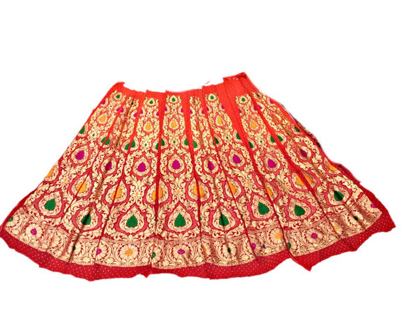 Orange And Red Shaded Color Minakari Design Banarasi Goergette Bandhani Chaniya Choli Material
