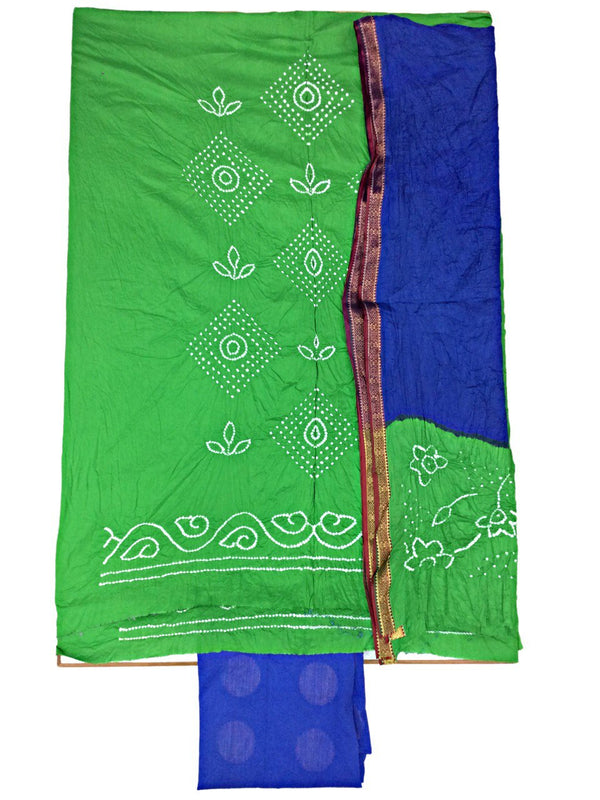 Green And Blue Color Fancy Design Cotton Satin Bandhani Dress Material