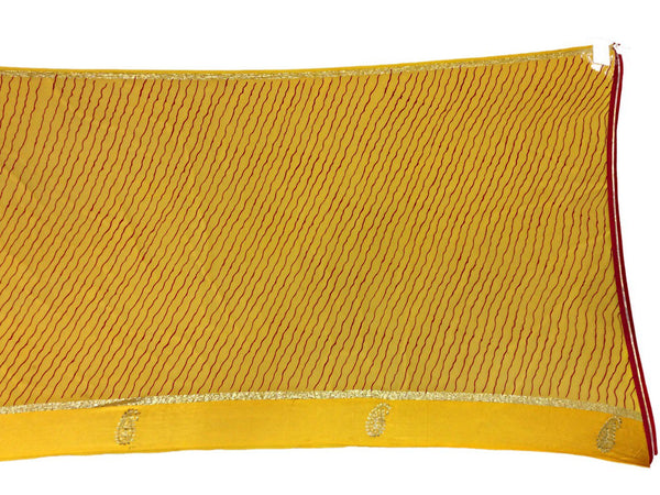 All Over Yellow Color Lehriya Work Design Art Silk Bandhani Saree