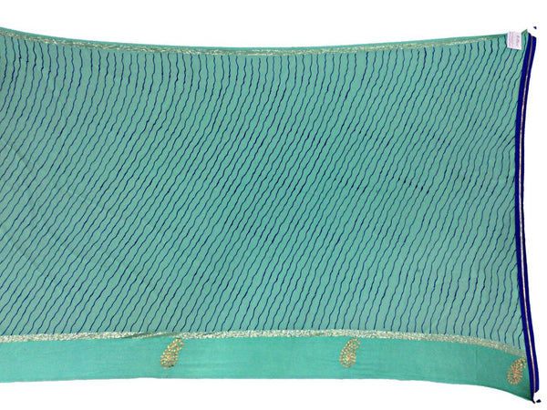All Over Sea Green Color Lehriya Work Design Art Silk Bandhani Saree