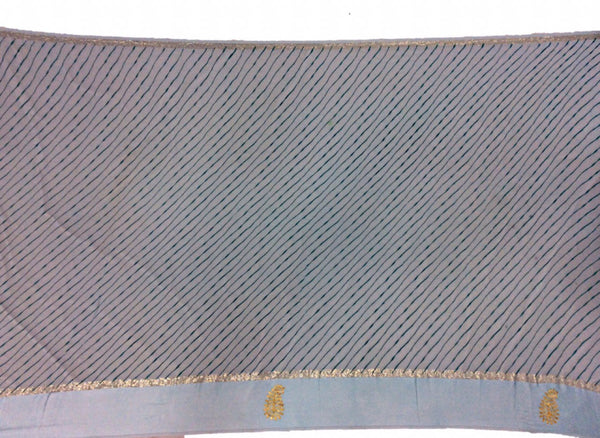 All Over Sky Blue Color Lehriya Work Design Art Silk Bandhani Saree