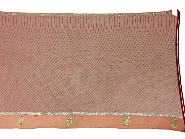 All Over Peach Color Lehriya Work Design Art Silk Bandhani Saree