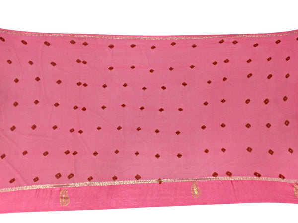 All Over Pink Color Lehriya Design Work Art Silk Bandhani Saree