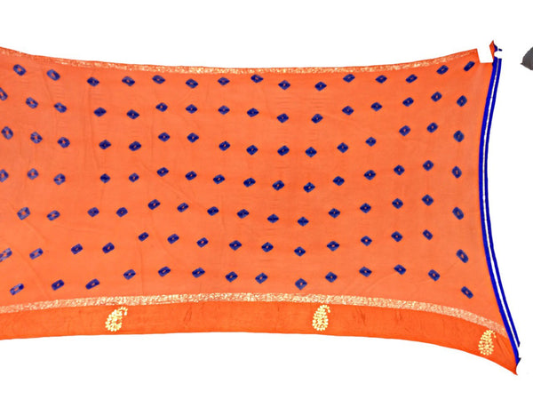 All Over Orange Color Lehriya Design Work Art Silk Bandhani Saree