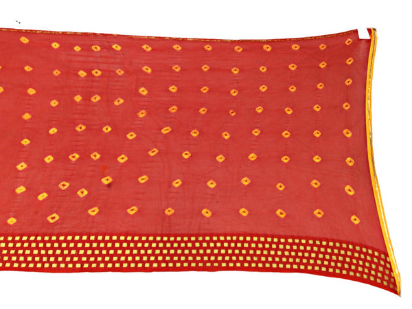 All Over Red Color Fancy Design Work Art Silk Bandhani Saree