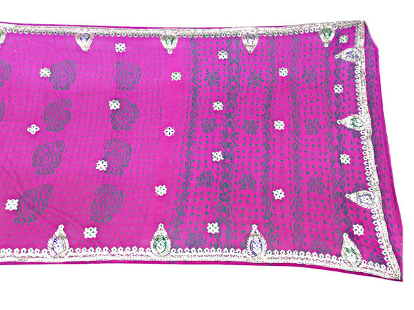 All Over Pink Sheded Color Fancy Design Pure Crepe Bandhani Saree