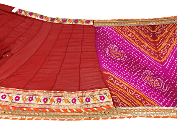 Pink And Red Sheded Color Fancy Design Pure Crepe Bandhani Saree