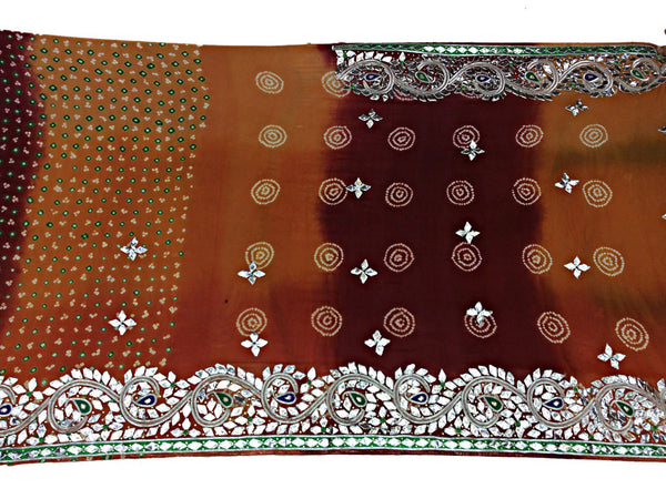 All Over Rust Sheded Color Fancy Design Pure Crepe Bandhani Saree